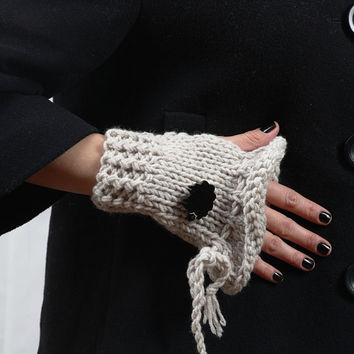 Oatmeal Handwarmers with Black Sheep by buggarenovated on Etsy