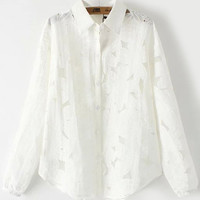 White Long Sleeve Lapel Embroidered Organza Blouse