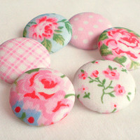 Fabric Buttons - Shabby Chic - 6 Medium Pink, Blue and White Floral and Gingham and Polka Dots Fabric Covered Buttons