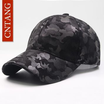 Trendy Winter Jacket CNTANG Leather Suede PU Camouflage Baseball Cap Men Fashion Spring Hat Snapback Hip Hop Unisex Caps Adjustable Brand Casual Hats AT_92_12