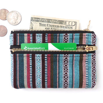 Wallet Coin Purse Double Zipper Pouch Stripe
