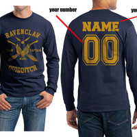 Custom Back name and number, Ravenclaw Quidditch team Captain YELLOW on Longsleeve MEN tee