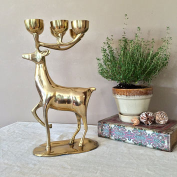 Large Brass Deer / Vintage Brass Figurines / Brass Deer / Deer Statue / Brass Statues / Brass Figurines / Brass Home Decor