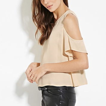 Contemporary Open-Shoulder Satin Top
