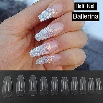 500pcs Transparent Long Fake Nails Ballerina Half Nail Tips Acrylic Artificial DIY False Nails Nail Art Decoration Faux Ongles