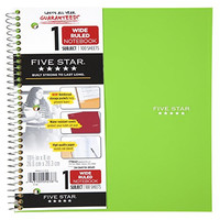 Five Star Spiral Notebook, 1 Subject, Wide Ruled, 10.5 x 8 Inches, Trend, Assorted Colors - Color May Vary (05238)