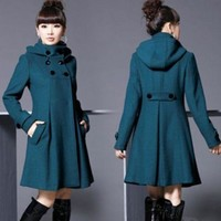 2016 New Women Long double-breasted hooded jacket wool trench coat jacket windbreaker
