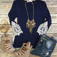 Find a Way Top: Navy
