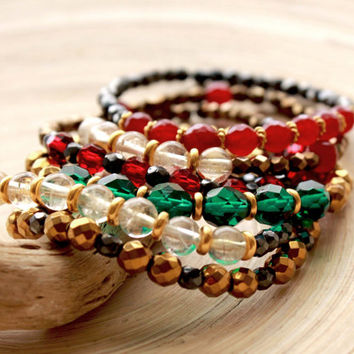 Stacking bracelets with Gemstones and Czech Glass beads, Boho beach style bracelets, Emerald, citrine, garnet gemstones and crystals, Prom
