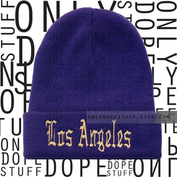 Los angeles Beanie Old English Purple and Gold Beanie Womens Mens Girls Boys Lakers Beanie