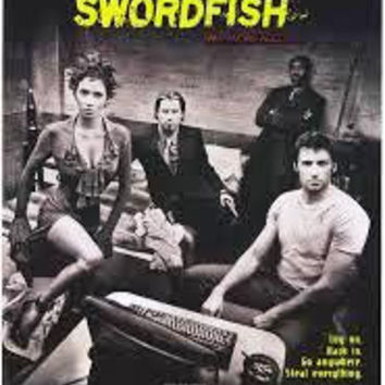 Swordfish 2001 Movie Poster 27x40 Used Angelo Pagan, John Travolta, Ilia Volok, Debbie Evans, Russ Cootey, Leo Lee, Craig Braun, Gary Rodriguez, Natalia Sokolova, Hugh Jackman, William Mapother