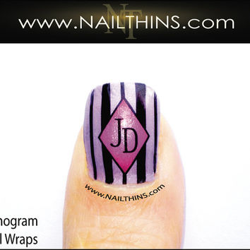 Monogram Nail Decal Initials Custom Full Nail Wraps by NAILTHINS