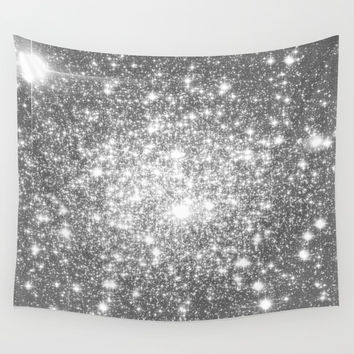 Silver Gray Galaxy Sparkle Stars Wall Tapestry by Whimsy Romance & Fun