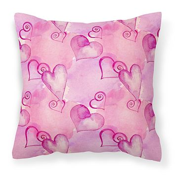 Watercolor Hot Pink Hearts Fabric Decorative Pillow BB7564PW1414