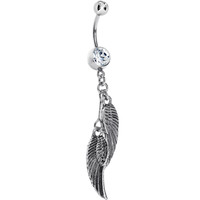 Double Angel Wing Dangle Belly Ring | Body Candy Body Jewelry