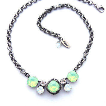 Mixed size Swarovski crystal necklace, mint opals, white opals, heart engraving, antique silver, Siggy Jewelry