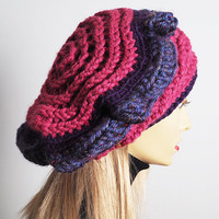 Pink & purple slouchy beanie - Ready to Ship - Chunky knit rasta cap - Multi beret - Crochet dreads tam - Fashion knit crown - Teen girl hat