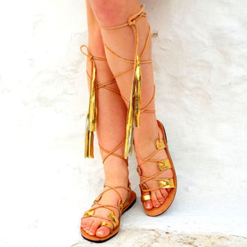 "Wedding Greek Goddess Sandals, gold lace up Sandals, Ancient Greek Sandal, Genuine leather shoes, ""Athina"" Summer shoes, fringes leather"