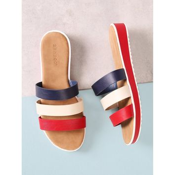 Three Strap Slide Sandal
