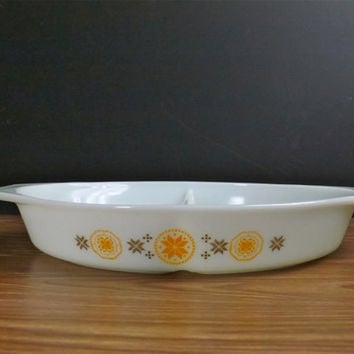 Vintage Town and Country Pyrex Divided Casserole Dish Brown and Orange Pyrex