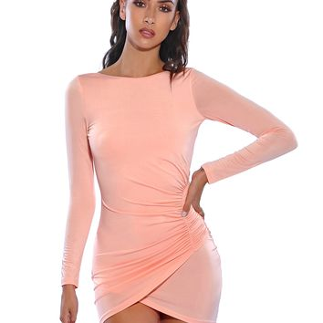 Hadley Silk Jersey Ruched Side Detail Long Sleeve Backless Dress