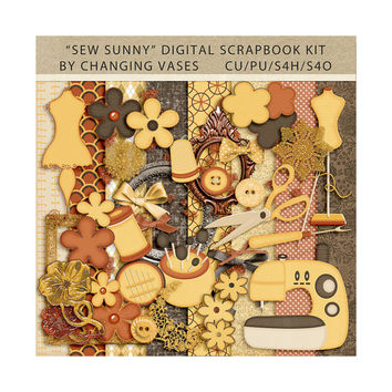 Digital Scrapbooking Kit, Sew Sunny, Seamstress Graphics, Sewing Clipart, Sewing Clip Art, Illustrations, Pictures, Designs, Yellow Brown