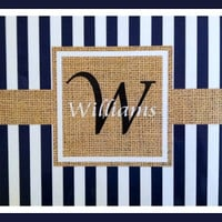 Burlap Look Placemat Set, Personalized Placemats, Chevron Placemat, Monogrammed Placemats, Laminated Placemats, Paper and Laminate Placemats