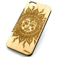 W129 Wood Case for APPLE IPHONE 4/4S, 5/5S, 5C Cover - ETHNIC TRIBAL SUN