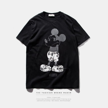 "Black ""Mickey Mouse"" Print Short Sleeve T-Shirt"