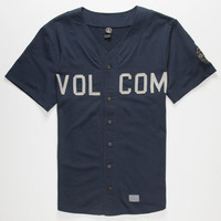 Volcom Milton Mens Baseball Jersey Navy  In Sizes