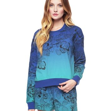 AMAZON FLORAL EMBROIDERED OMBRE PULLOVER