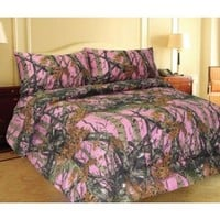 PINK FOREST CAMO MicroFiber Comforter Bed Spread -Queen-