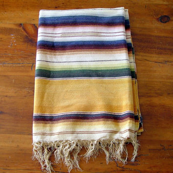 "Vintage Gold Yellow Mexican Blanket Saltillo SerapeThrow Twin 90"" X 60"""