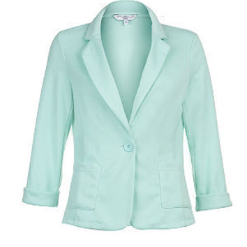 Mint Green One Button Roll Sleeve Blazer
