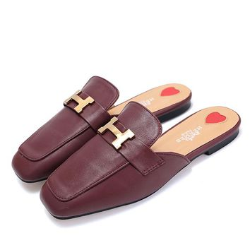Hermes Women Fashion Heart Slipper Flats Shoes