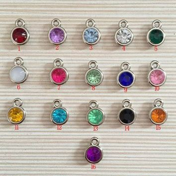 LMFIJ6 12pcs/lot mixed Birthstone charms 11mm Acrylic for Diy Personalized Necklace and Bracelet Free shipping