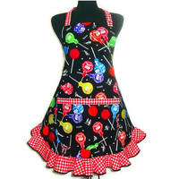 Retro Kitchen Apron, Tootsie Pops Candy,  Adjustable Hostess style with ruffle