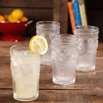 The Pioneer Woman Adeline 16-Ounce Emboss Glass Tumblers, Set of 4 - Walmart.com