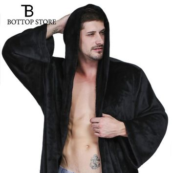 Winter Men Long Bathrobe Men's Nightgown Man Warm Gowns Hooded Bath Robe Male Sleepwear Flannel Thickening Pajamas Couple Europe