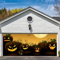 Garage Door Halloween Decorations Cover Decor Pumpkin Wicked Billboard Outside Decoration for Garage Door Halloween Pumpkins