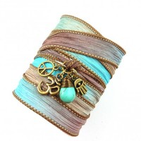 Om Silk Wrap Bracelet with Turquoise, Peace Sign,and Hamsa