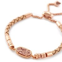 Cruz Adjustable Leather Bracelet In Rose Gold Drusy