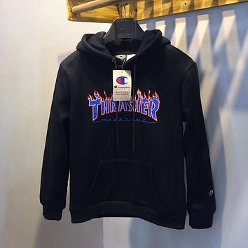 Thrasher Woman Men Fashion Flame Hoodie Top Sweater Pullover