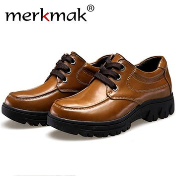 Merkmak Shoes Men 2017 Fashion Genuine Leather Casual Brogue Business Big Size 37-50 Men Flats Footear Breathable Zapatos Hombre