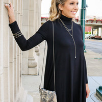Dusk To Dawn Black Turtleneck Long Sleeve Swing Dress