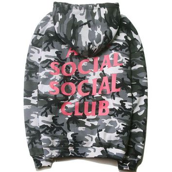 VONEYW7 anti social social club autumn and winter classic camouflage pink printed hood hooded sweater