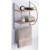Manhattan 2 Tier Wood Mounting Shelf with Towel Bars | Overstock.com
