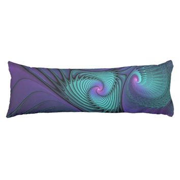 Purple meets Turquoise modern abstract Fractal Art Body Pillow