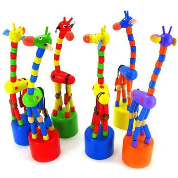 DCCKU7Q Kids Intelligence Toy Dancing Stand Colorful Rocking Giraffe Wooden Toy