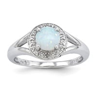Sterling Silver Diamond & Opal Halo Ring